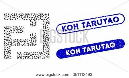 Mosaic Labyrinth And Grunge Stamp Seals With Koh Tarutao Text. Mosaic Vector Labyrinth Is Formed Wit