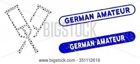 Mosaic Crutches And Corroded Stamp Watermarks With German Amateur Text. Mosaic Vector Crutches Is Co