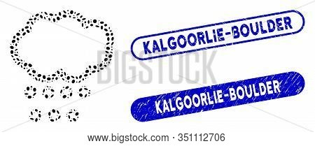 Mosaic Hail Weather And Grunge Stamp Seals With Kalgoorlie-boulder Text. Mosaic Vector Hail Weather