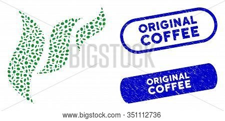 Collage Flora Abstraction And Rubber Stamp Seals With Original Coffee Phrase. Mosaic Vector Flora Ab