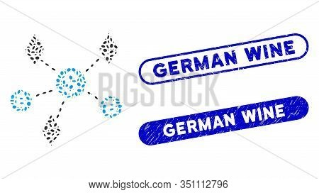 Mosaic Cryptocurrency Network And Corroded Stamp Seals With German Wine Phrase. Mosaic Vector Crypto