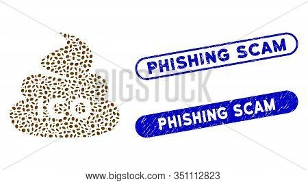 Mosaic Ico Shit And Rubber Stamp Seals With Phishing Scam Phrase. Mosaic Vector Ico Shit Is Designed