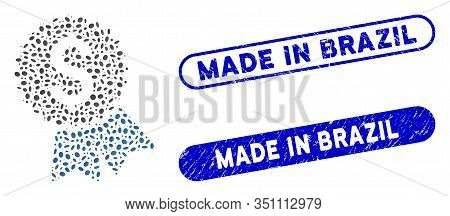 Mosaic Featured Price Tag And Distressed Stamp Watermarks With Made In Brazil Text. Mosaic Vector Fe