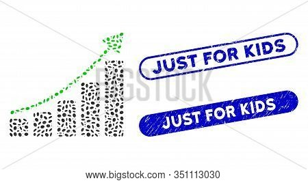 Mosaic Growing Bar Chart Trend And Distressed Stamp Seals With Just For Kids Text. Mosaic Vector Gro