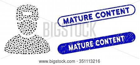 Mosaic Service Boy And Rubber Stamp Seals With Mature Content Phrase. Mosaic Vector Service Boy Is C