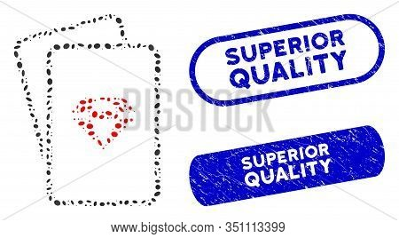 Mosaic Ruby Gambling Cards And Rubber Stamp Seals With Superior Quality Caption. Mosaic Vector Ruby