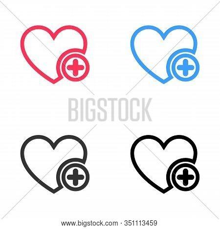 Favorites Icon With Plus Symbol. Favorite Icon, Heart Add Plus Sign, Bookmark Symbol, Button