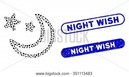 Mosaic Clear Night Sky And Corroded Stamp Seals With Night Wish Text. Mosaic Vector Clear Night Sky