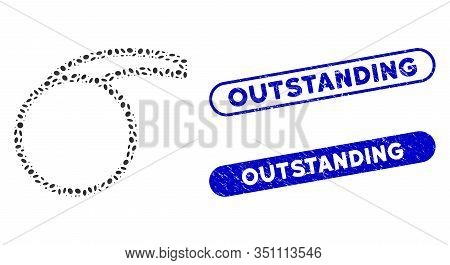 Mosaic Empty Special Retort And Distressed Stamp Seals With Outstanding Text. Mosaic Vector Empty Sp