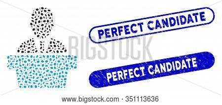 Mosaic Politician And Rubber Stamp Seals With Perfect Candidate Text. Mosaic Vector Politician Is De