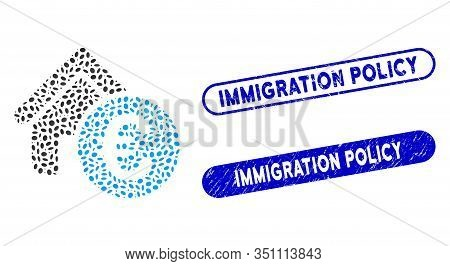 Collage Euro Home Rent And Grunge Stamp Seals With Immigration Policy Text. Mosaic Vector Euro Home