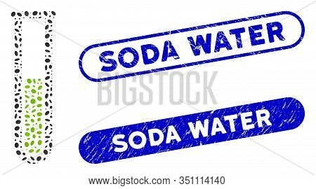 Mosaic Green Liquid Test Tube And Corroded Stamp Seals With Soda Water Caption. Mosaic Vector Green