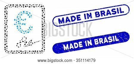 Mosaic Euro Signed Contract And Grunge Stamp Seals With Made In Brasil Caption. Mosaic Vector Euro S
