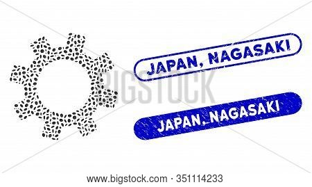 Mosaic Gear And Grunge Stamp Watermarks With Japan, Nagasaki Caption. Mosaic Vector Gear Is Created
