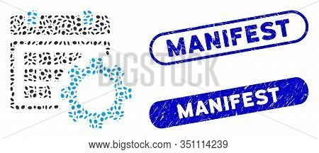 Mosaic Schedule Options And Rubber Stamp Seals With Manifest Phrase. Mosaic Vector Schedule Options