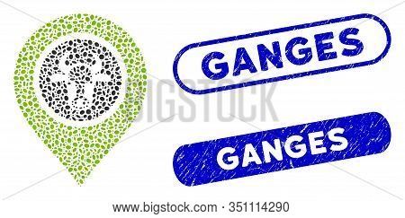 Mosaic Cow Marker And Rubber Stamp Seals With Ganges Phrase. Mosaic Vector Cow Marker Is Created Wit