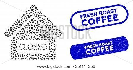 Mosaic Closed Office And Grunge Stamp Seals With Fresh Roast Coffee Caption. Mosaic Vector Closed Of