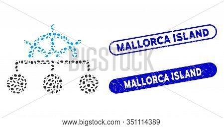 Mosaic Rule Structure And Corroded Stamp Seals With Mallorca Island Phrase. Mosaic Vector Rule Struc