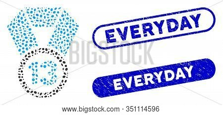 Mosaic 13th Place Medal And Corroded Stamp Watermarks With Everyday Caption. Mosaic Vector 13th Plac