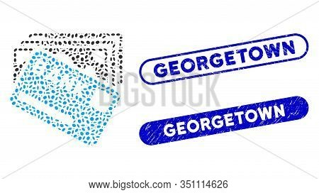 Mosaic Credit Money And Rubber Stamp Seals With Georgetown Caption. Mosaic Vector Credit Money Is Cr