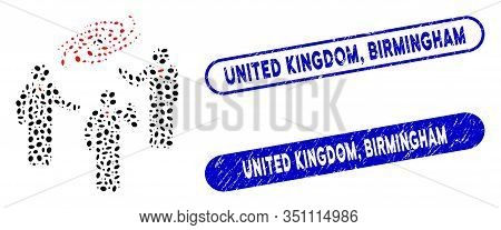 Mosaic Space Chat And Corroded Stamp Seals With United Kingdom, Birmingham Caption. Mosaic Vector Sp
