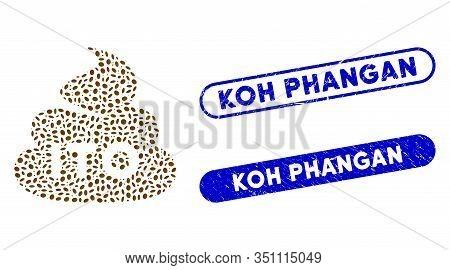 Mosaic Ito Shit And Rubber Stamp Seals With Koh Phangan Caption. Mosaic Vector Ito Shit Is Created W