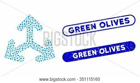 Mosaic Direction Variants And Grunge Stamp Watermarks With Green Olives Text. Mosaic Vector Directio