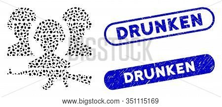 Mosaic Army And Rubber Stamp Seals With Drunken Caption. Mosaic Vector Army Is Designed With Scatter