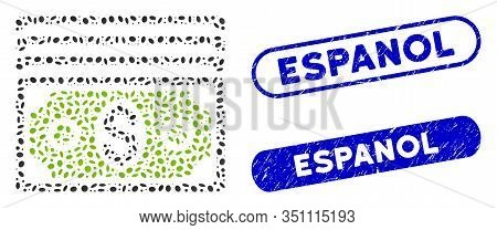 Mosaic Banknotes And Corroded Stamp Seals With Espanol Text. Mosaic Vector Banknotes Is Composed Wit