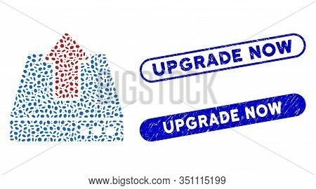 Mosaic Upload And Distressed Stamp Seals With Upgrade Now Caption. Mosaic Vector Upload Is Designed