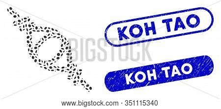 Collage Knot Loop Connection And Distressed Stamp Seals With Koh Tao Phrase. Mosaic Vector Knot Loop