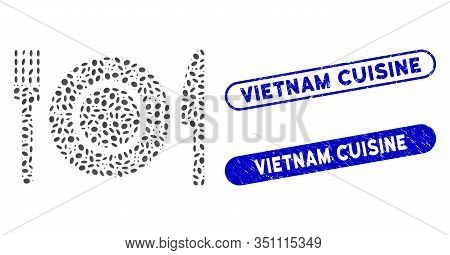 Mosaic Restaurant Tableware And Rubber Stamp Seals With Vietnam Cuisine Phrase. Mosaic Vector Restau