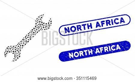Mosaic Wrench And Grunge Stamp Seals With North Africa Text. Mosaic Vector Wrench Is Designed With R