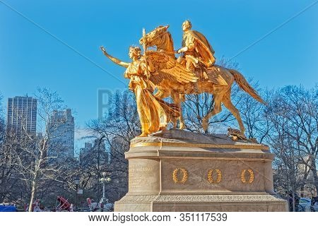 New York, Usa - January 15, 2018: Sherman Memorial Gilded Bronze Sculpture On Grand Army Plaza In Wi