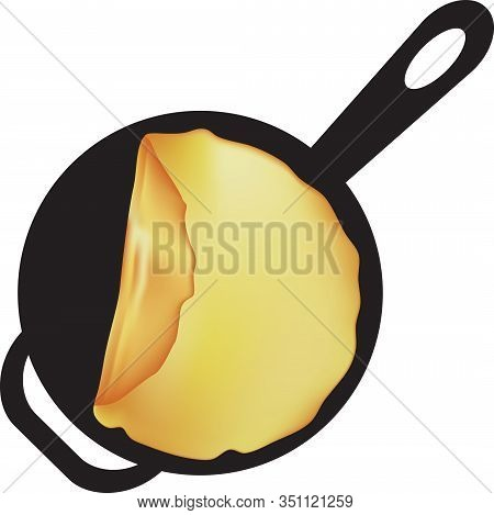 Fried Pancake In A Pan With A Handle