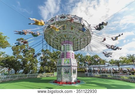 Hong Kong, China - July 24, 2019 : Carousel In Motion In Ocean Park. Ocean Park Is Situated In Wong