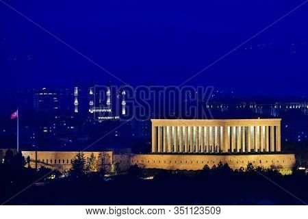 Ankara, Turkey -  Mausoleum of Ataturk and Millet Mosque in the presidential Compound at night