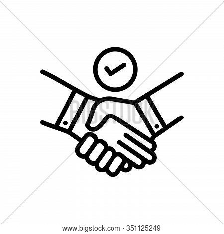 Black Line Icon For Deal Pledge Promise Bargain Handshake Cooperation Agreement Unity Together