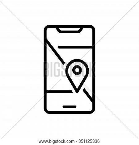Black Line Icon For Mobile-geo-localization Mobile Geo Localization Navigation Cartography Pin Direc