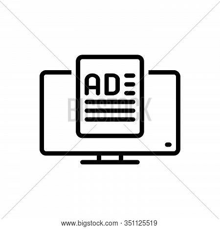 Black Line Icon For Ad-media Ad Media Application-ad Application Ad Function Advertisement Reclame O