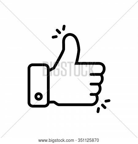 Black Line Icon For Like-button Conforming Good-job Ok Approval Excellence Thumb Gesture Confirmatio