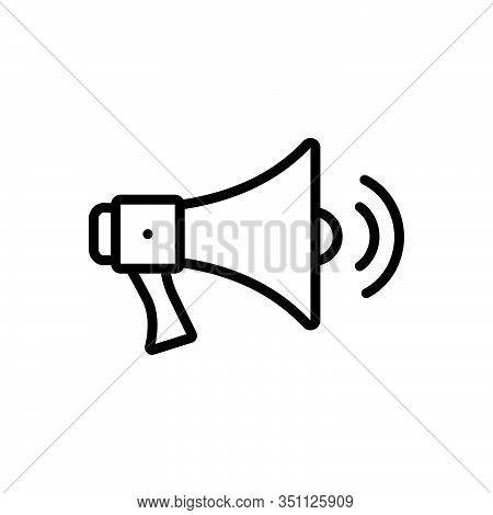 Black Line Icon For Megaphone-with-sound-waves Megaphone Sound Waves Bullhorn Louder Speaker Volume