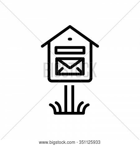 Black Line Icon For Mail-box Mail Box Pobox Letterbox Communicate  Message Telegram Postage Receiver
