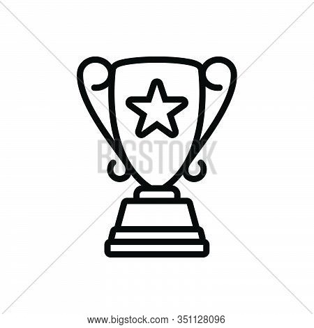 Black Line Icon For Top-award Top Award Accolade Trophy Achievement Accomplishment Triumph Victory S