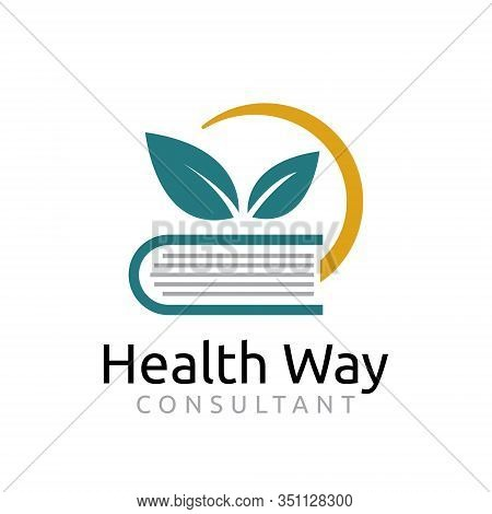 Health Way Healthy Lifestyle Book Guidance Consultant Symbol Logo Template