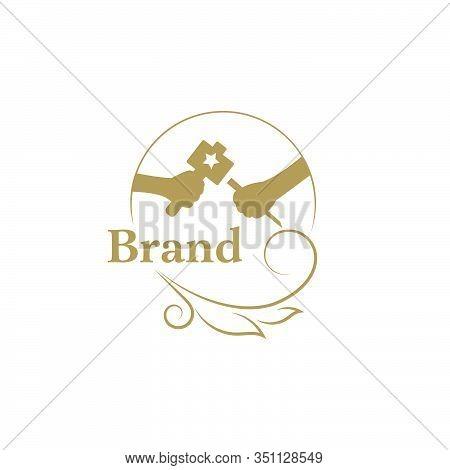 Woodcarving Logotype Illustration. Wood Engraver Logo Design