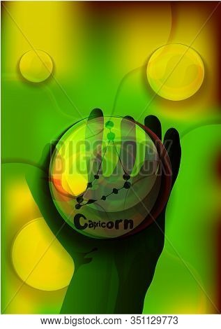 Magic Crystal Ball In Hand, Blue Light, Electric Discharges And Lightning, Mystical Illustration, Ea