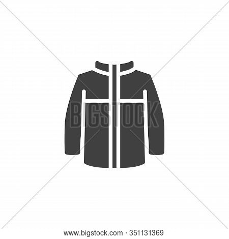 Mens Jacket With Long Sleeves Vector Icon. Filled Flat Sign For Mobile Concept And Web Design. Winte