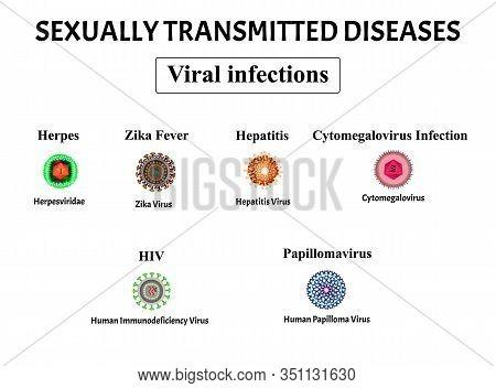 Hiv, Herpes, Papillomavirus, Aids, Hepatitis, Cytomegalovirus, Zika Virus. Set Of Viral Infections.