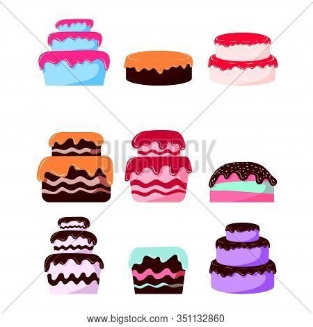 Set Of Beautiful, Sweet, Juicy And Tasty Cakes. Chocolate Cakes, Icing Cakes, Pastries. Illustration